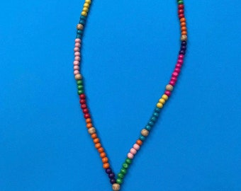 Colourful Mexican rosary bead necklace day of the dead with skull and cross