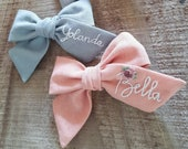 Ready to ship gift,Personalized gift,Customized name bow for women,personalized name bow on Barrette,Embroidered bow,women hairbow,Linen Bow