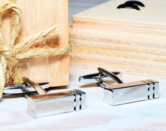Novelty Minimalist Cufflinks as Best Friend Appreciation Gift Unique Rectangle Cufflinks in Custom Gift Box as Personalized Gift for Dad
