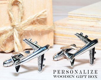Aviation Cuff links Airplane altimeter Personalized jewelry Gift for pilot Aircraft cufflinks Airman cufflinks Custom text Date engraving