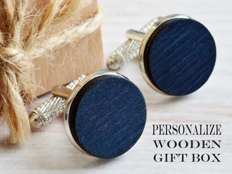 Rustic Accessories Navy Wood Silver Cufflinks as Goomsmen Proposal in Custom Box Wooden Cufflinks as Groom Rustic Wedding Gift from Bride