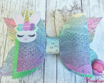 multicolor small bow added to the pink bunny handmade perfect for Easter outfit Pink Easter Bunny headband and ready to ship.