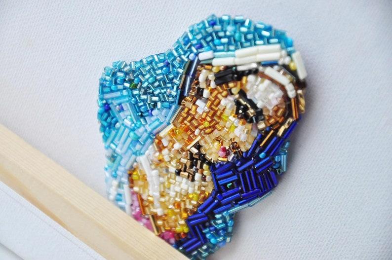 beaded embroidery Blue Madonna portrait Embroidered brooch original artwork saint portrait brooch beads Helene Schjerfbeck