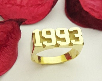Stackable Year Ring Gift for Her and Him Personalized Date Ring,Custom Date Ring Date Ring Birthday Ring
