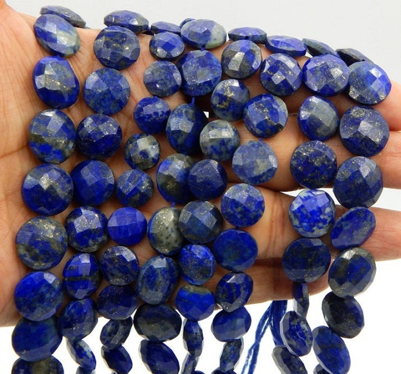 Lapis Lazuli Faceted Beads Coin Shape 16x20.mm Approx 10Inches Natural Top Quality Wholesale Price.