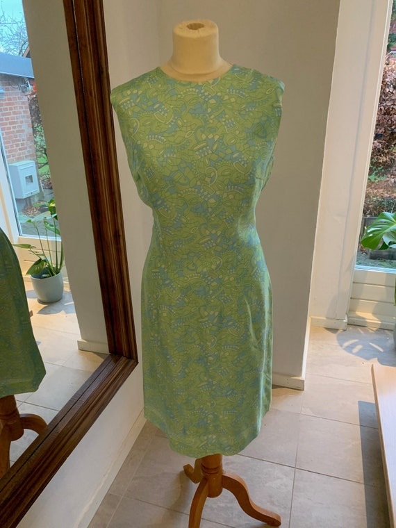 Vintage green 60s dress whith matching jacket, Mad
