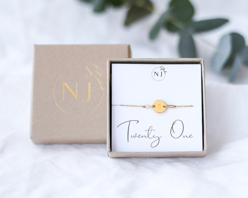 21st Birthday Bracelet Initial Bracelet 21st Birthday Gift 21st Birthday Personalised Jewelry 21 Birthday Girl,Gift For Her,Eco Friendly