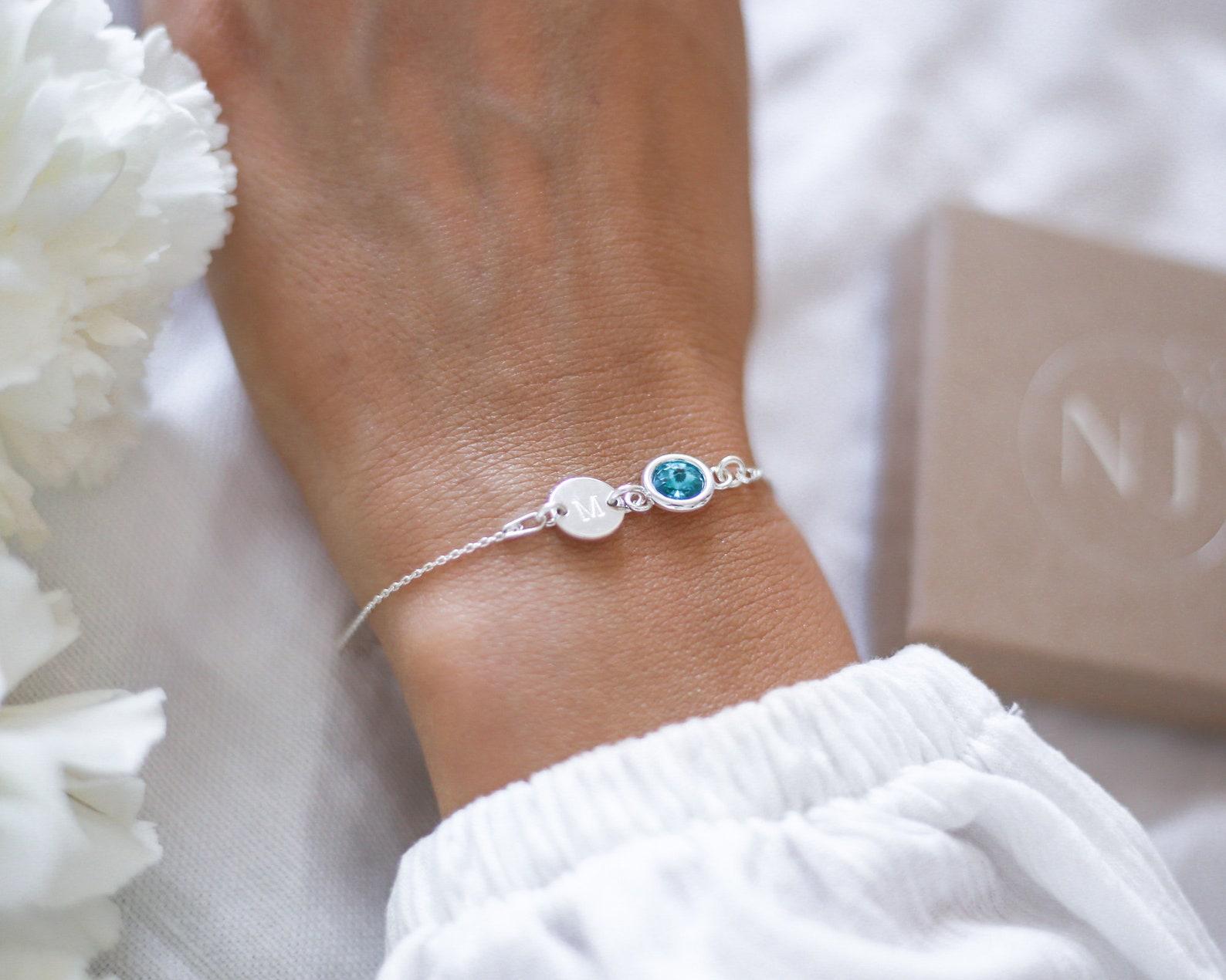 Initial & Birthstone Bracelet