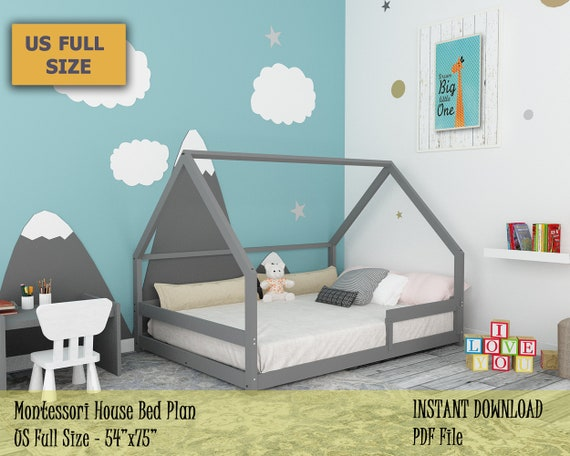 Montessori Bed Full Bed Plan Toddler Bed House Bed Frame Etsy