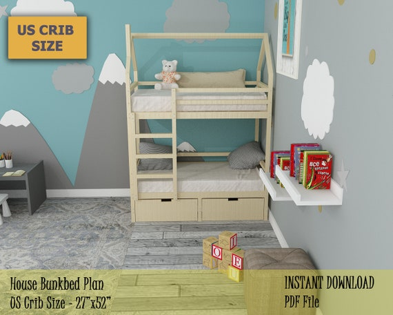 Toddler Bunk Bed Plan Crib Size House Bunk Bed Easy And Etsy