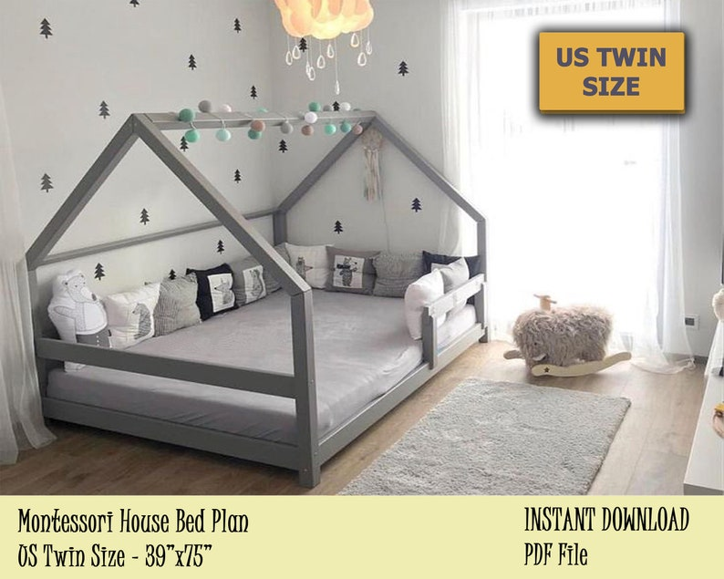 Montessori Bed Twin Bed Plan Toddler Bed House Bed Frame  image 0
