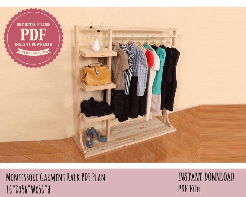 Montessori Garment Rack Plan Mini Kids Clothes rack Wooden image 0