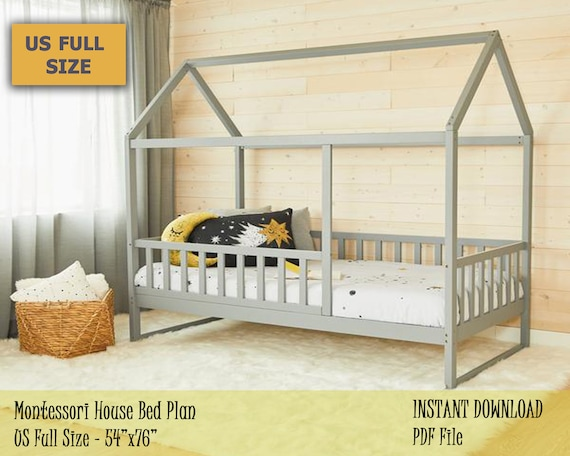 Full Size Montessori Bed Plan Toddler House Bed Frame Easy And Affordable Diy Wooden Floor Bed For Kids Bedroom