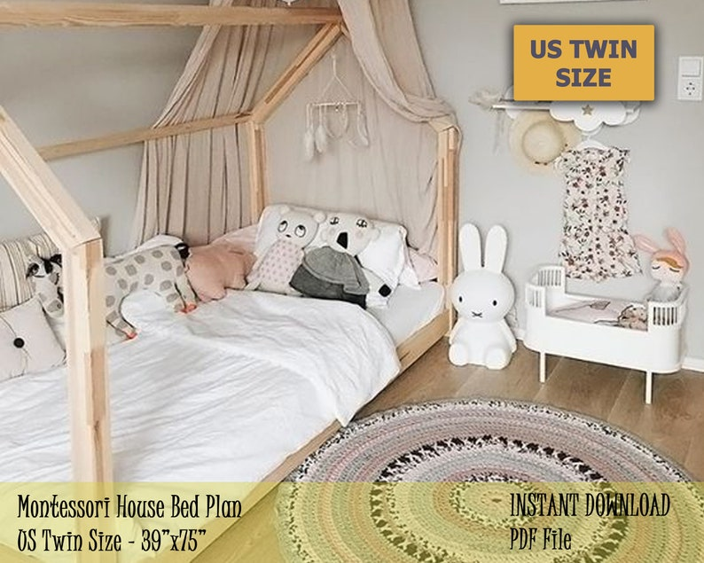 Montessori Toddler House Bed Frame US Twin Size Kids Bed ...