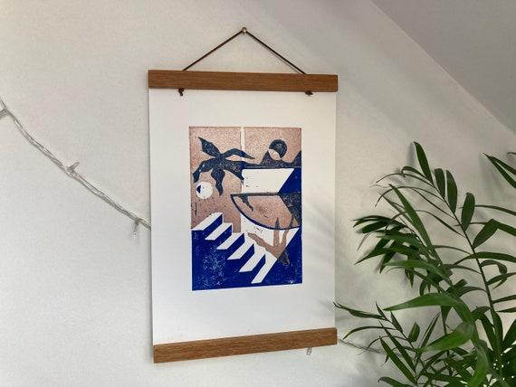 Lino Print // Abstract Geometric Scene Lino Print - Electric Blue & Bronze