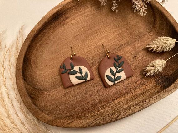 Polymer Clay Earrings — Gold Ball Studs // Geometric Jewellery Design — Terracotta Leaf Design