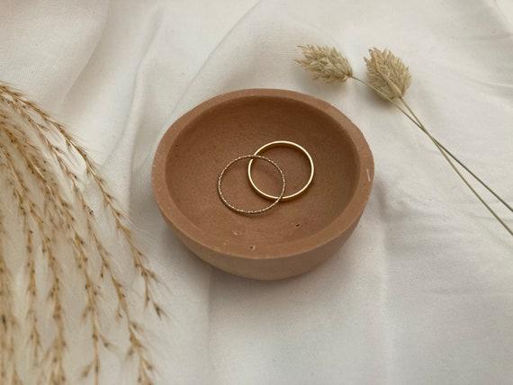 Jesmonite Colour Block Circle Ring Dish / Bowl - Nude Neutral