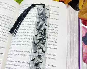 Glow in the Dark Halloween Bats Epoxy Resin Bookmark