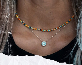 Beaded Boho Choker Bead Choker N1418 Boho Feather Necklace Gypsy Necklace Hippie Jewelry Boho Jewelry Gypsy Jewelry Hippie Necklace
