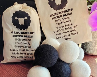 6 Pack of Extra Large Dryer Balls 100% New Zealand Sheep Wool to the Core Cut Dryer Time Eco Friendly