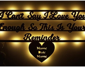 Love Reminder Gifts for Anniversary Wedding Engagement Led Night Light Romantic for Couples Girlfriend Boyfriend Personalized with Name