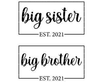 Newborn Stickers Baby Shower Gift Photo Prop Printable Stickers Big Sister Little Sister Big Brother Little Brother Baby Family Photo