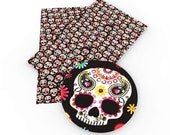 Sugar skulls faux leather sheets sugar skulls faux,dia de muertos faux leather,sugar skulls,Mexico faux