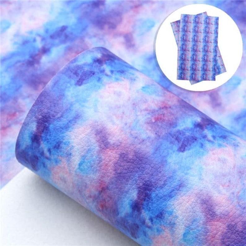 Tie dye faux leather sheetsfaux leatherlitchi faux leather image 0