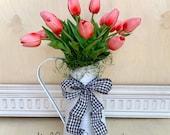 Tulip Pitcher Arrangement-Summer white metal farm Vase-Everyday Front Door Decor-Flower Alternative-Gift shipping