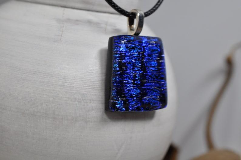 Dichroic Glass Pendant Double Dichroic Glass Fused Glass Pendant Deep Blues and Teal Dichroic Glass Pendant Dichroic Glass Fused Glass