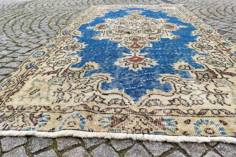 Free Shipping oriental rug blue area rug 3.5x6.5 ft vintage rug turkish rug oushak rug turkey rug