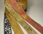 Rose metallic Jacquard Fabric Trim, 1 1 2 inch wide, sold by the yard.