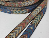 Native arrow jacquard fabric trim, 1 2 inch wide, sold by the yard.