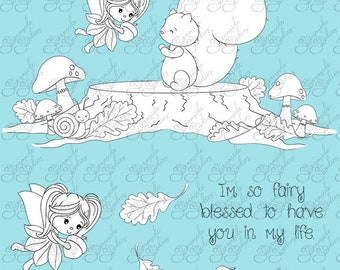 digital fairy stamp set Fairy Fun Valentines png  300 dpi images black and white images for card making