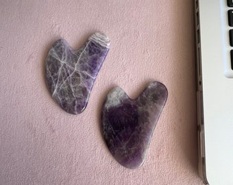 Natural heart shape face massager Amethyst gua sha beauty product Mothers Day Gift