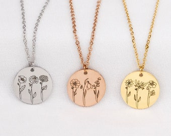 Combined Birth Month Flower Bouquet Necklace, 48 different flowers to choose, Mothers day Jewelry Gift, Best Friend, Birthday Present