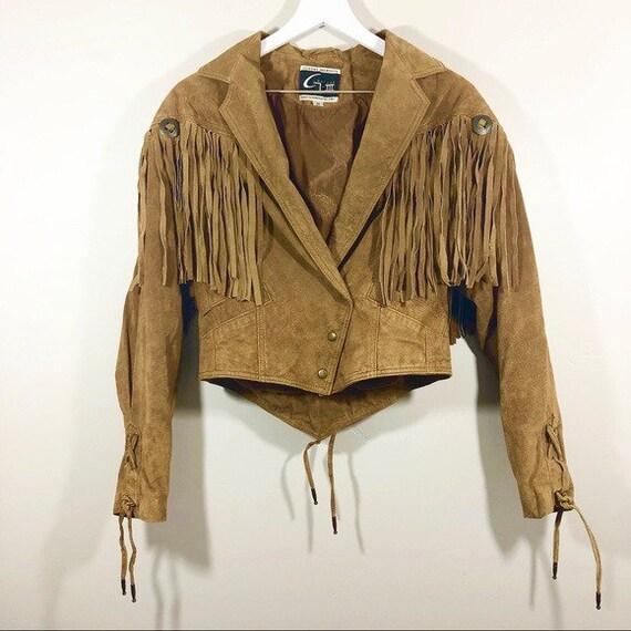 Vintage 80s Western Tan Suede Fringe Jacket