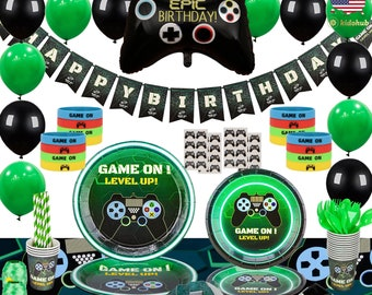Video Game Arcade 8 Bit Whirls Gaming Birthday Party Hanging Decorations 5 Pc