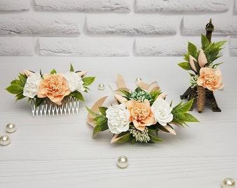 Peach Lace and Rhinestone Flower Wrist Corsage #W081