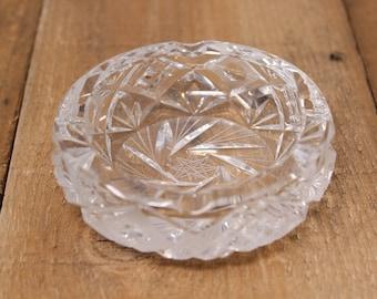 Small Heavy Pinwheel Crystal / Cut Glass Ashtray