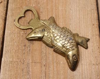 animal art fish figurine bottle opener made of brass unique rare vintage brass fish