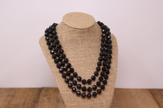 Deco French Jet Necklace Mourning Jewelry Faceted Black Glass Beads Individually Hand Knotted 26 Inches