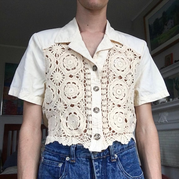 vintage 1990s pastel yellow crochet front shirt sl