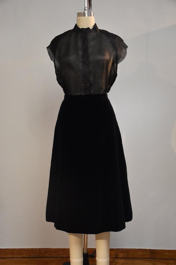 Vintage velvet a-line skirt