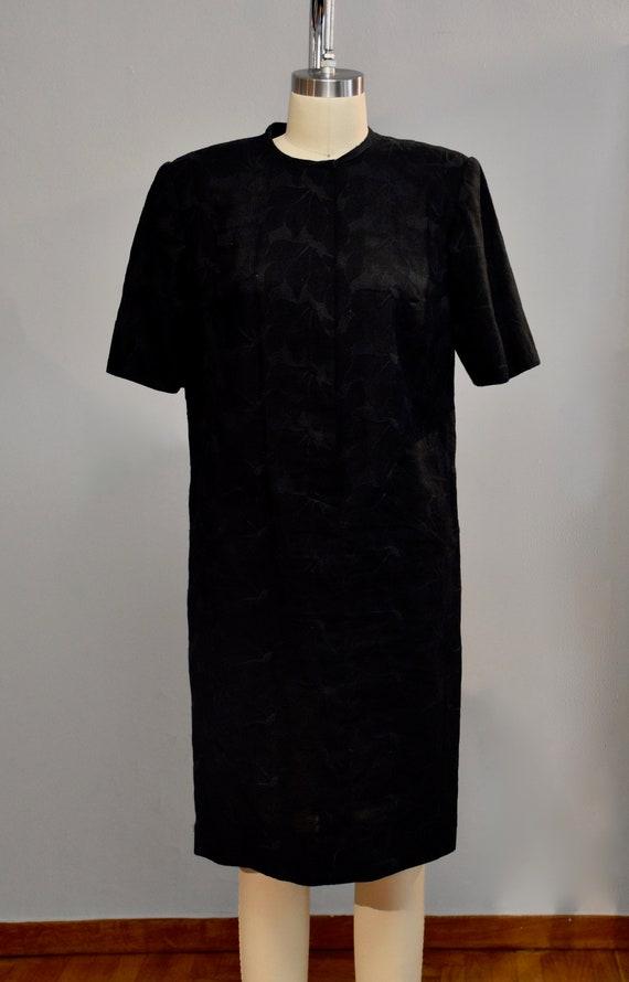 Vintage black embroidered linen dress
