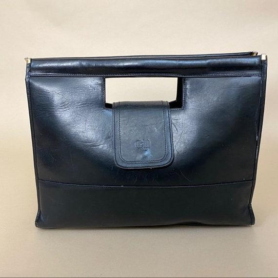 Vintage Black Leather Boxy Handbag