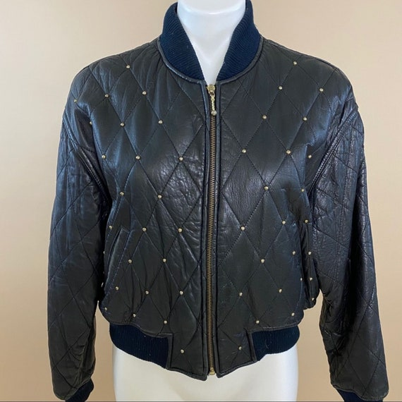G-III Vintage 80s Quilted Studded Leather Jacket