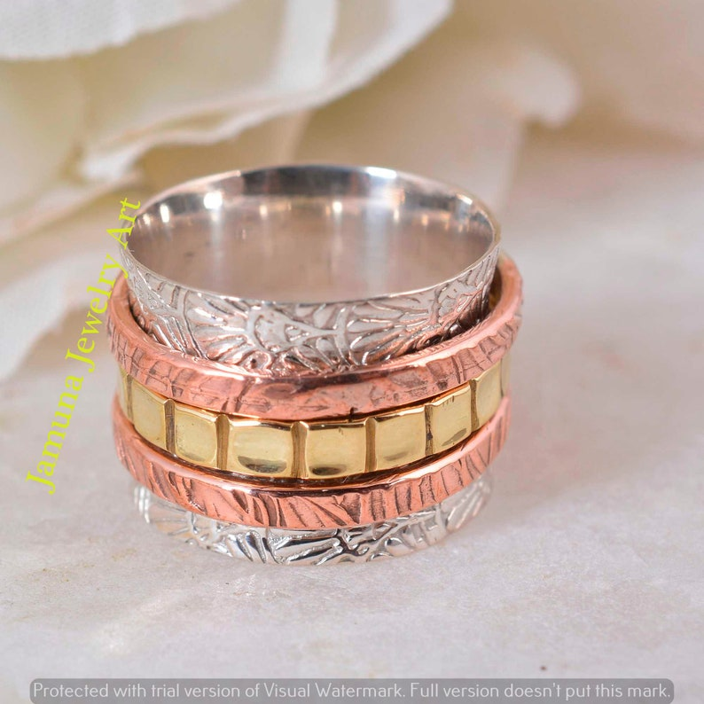 Wedding Ring Anniversary Ring Silver Band Unique Ring Gift Ring Handmade Ring Brass Band Spinner Band Vintage Ring Copper Band