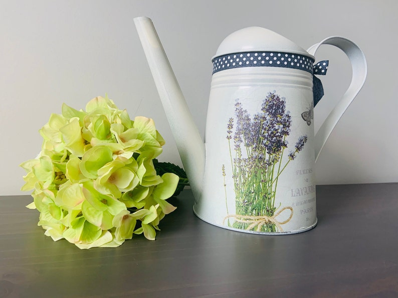 Trendy watering can Bunch of lavender