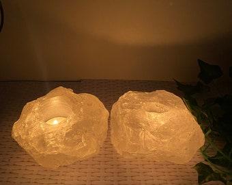 Set of 2 Quartz tea light Candle Holder - table display pack